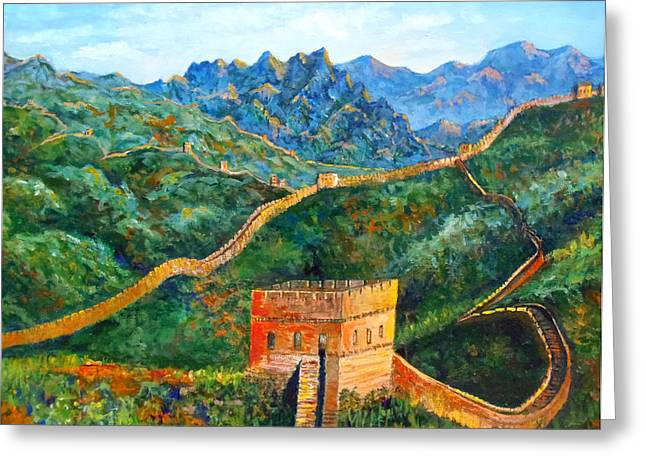 Great Wall Greeting Card by Lou Ann Bagnall