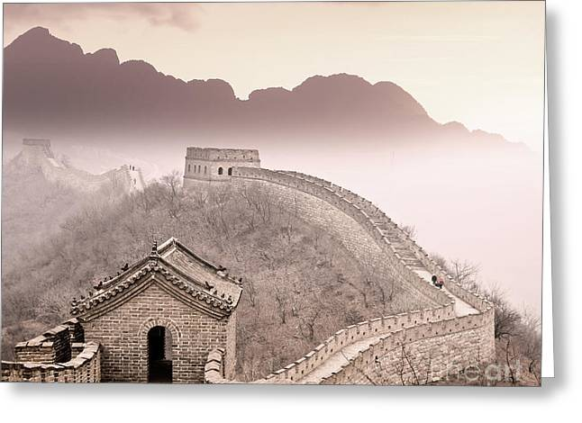 Great Wall Of China Greeting Card by Delphimages Photo Creations