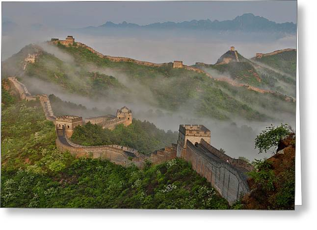 Great Wall Of China On A Foggy Morning Greeting Card by Darrell Gulin