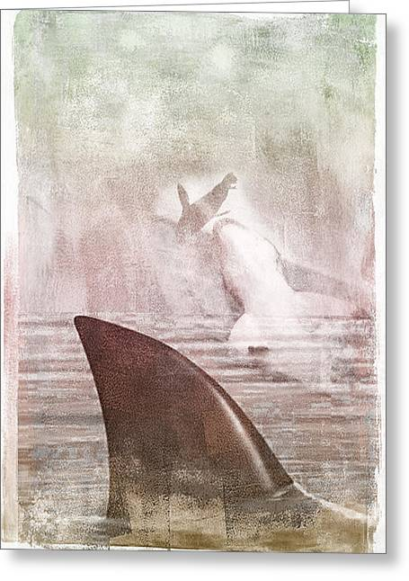 Greeting Card featuring the digital art Great White Attack by Davina Washington
