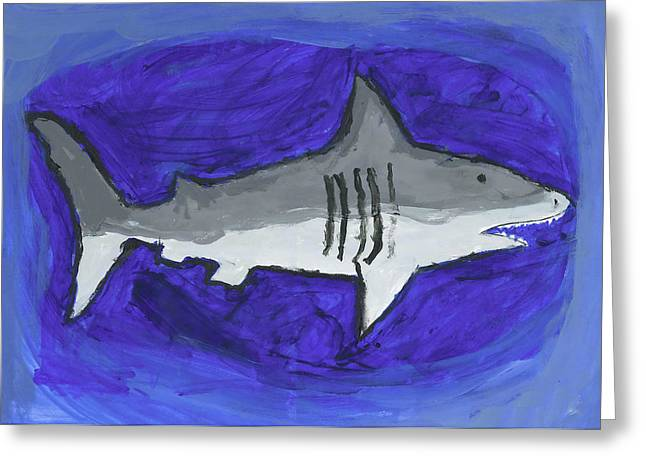 Greeting Card featuring the painting Great White In The Deep Blue Sea by Fred Hanna