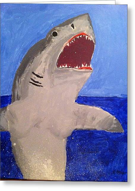 Greeting Card featuring the painting Great White Shark Breaching by Fred Hanna