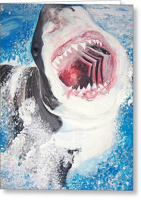 Great White Greeting Card by Siobhan Shene
