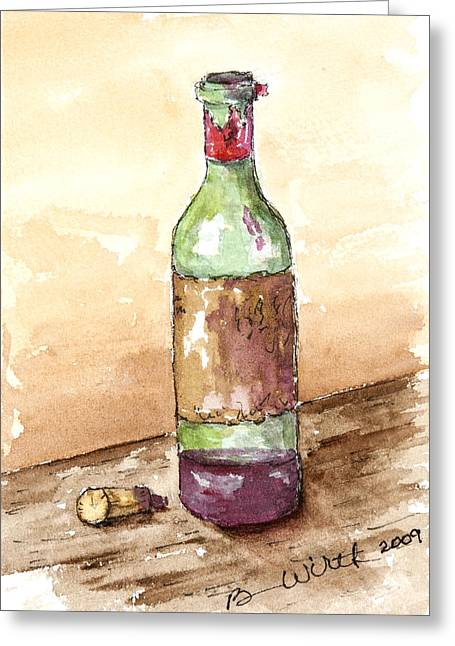 Great Wine Time Greeting Card by Barbara Wirth