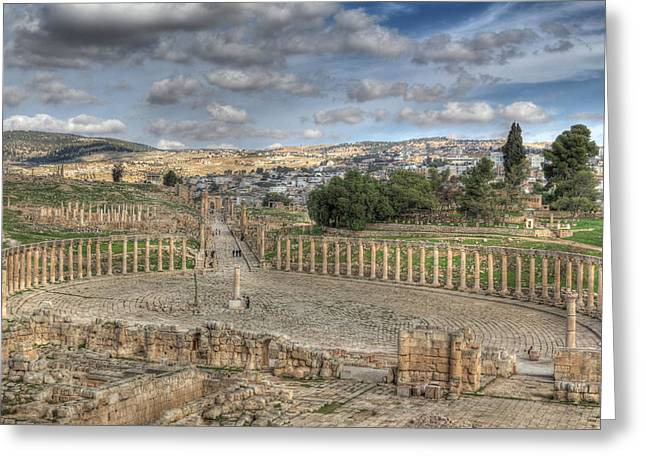 Greco-roman City Of Jerash In Jordan Greeting Card by Ash Sharesomephotos