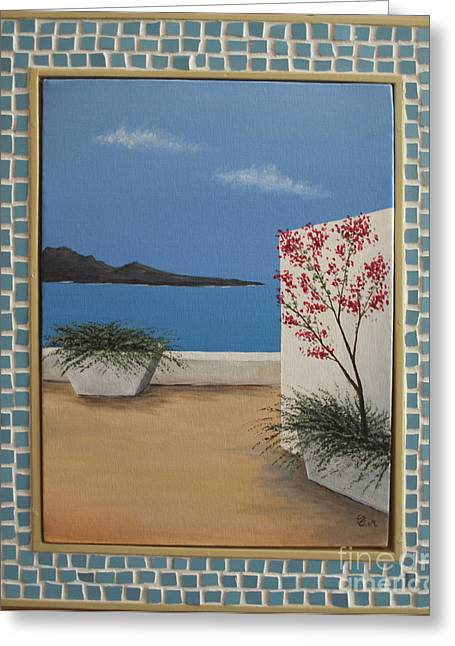 Greece By Day With Mos. Frame Greeting Card by Thomas Maes