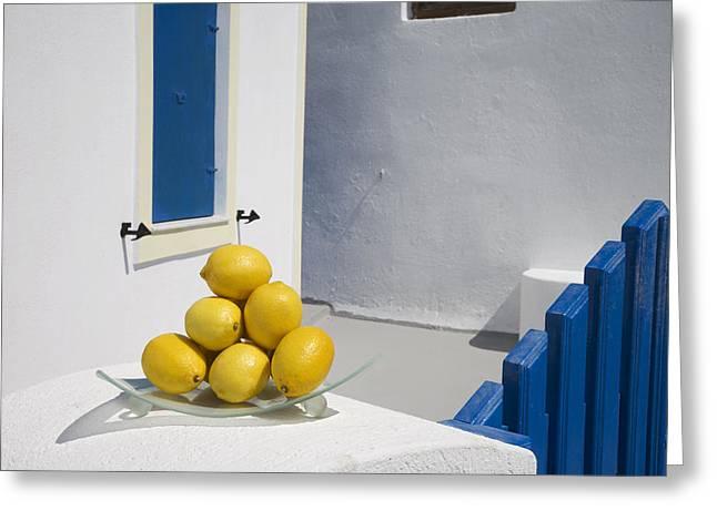 Greece, Cyclades, Santorini, Oia,lemons Greeting Card