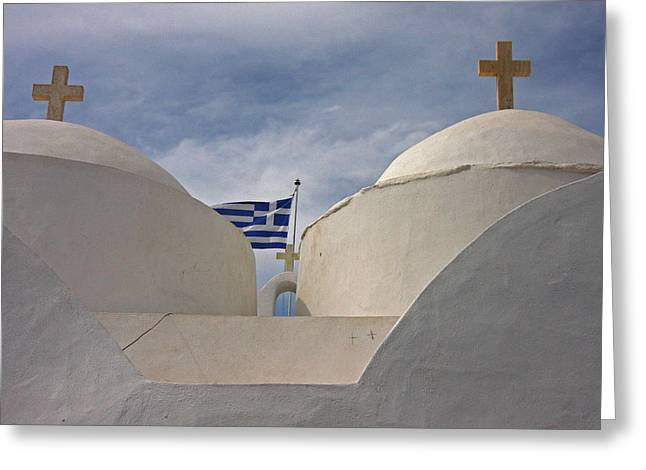 Greece, Cyclades, Sifnos, Vathi Greeting Card by Jaynes Gallery