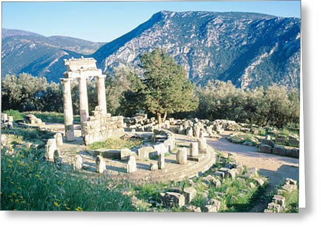 Greece, Delphi, The Tholos, Ruins Greeting Card by Panoramic Images