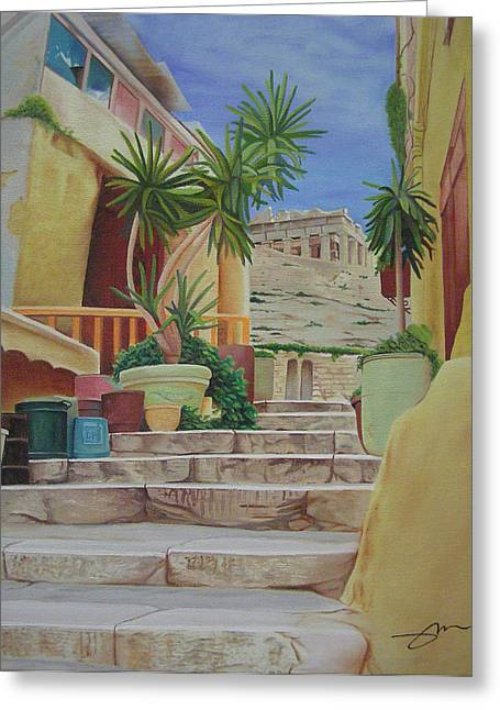 Greeting Card featuring the painting Greece by Joshua Morton
