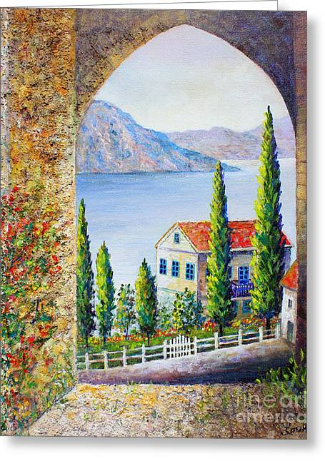 Greeting Card featuring the painting Greek Arch Vista by Lou Ann Bagnall