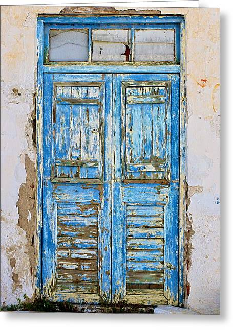 Greek Door Greeting Card by John Babis