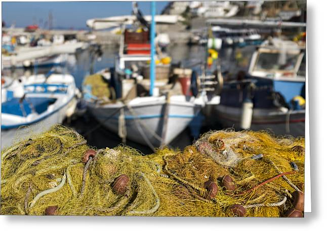 Greek Fishing Harbour Greeting Card