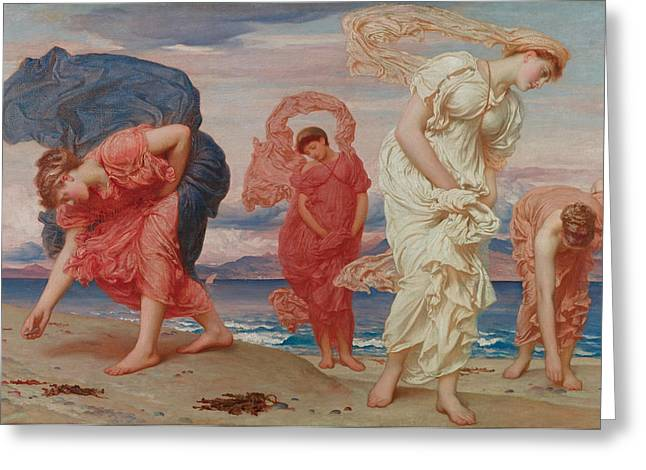 Greek Girls Picking Up Pebbles By The Sea Greeting Card by Frederic Leighton