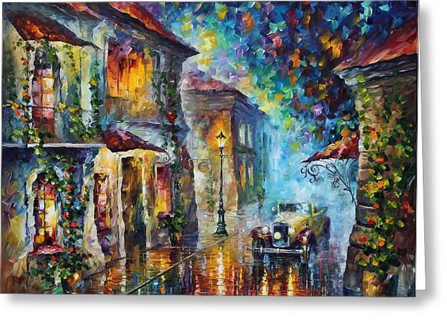 Greek Night - Palette Knife Oil Painting On Canvas By Leonid Afremov Greeting Card