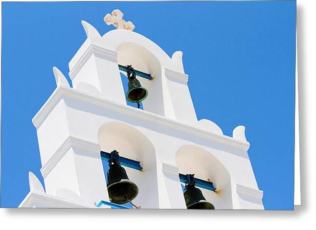 Greek Orthodox Church Bells On Santorini Greeting Card by Laura Palmer