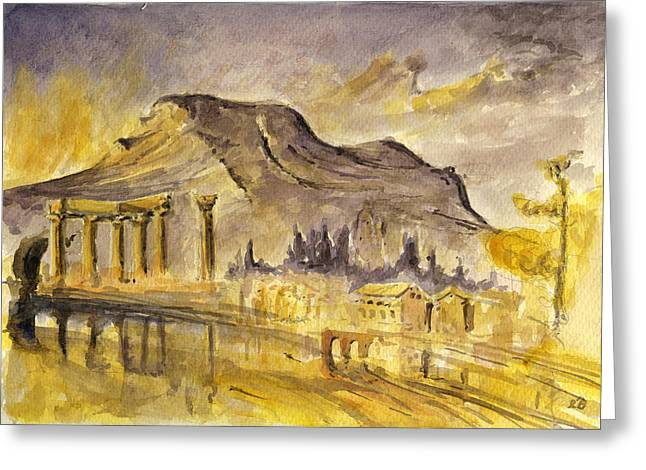 Greek Ruins Greeting Card by Juan  Bosco