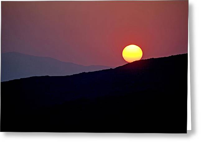 Greek Sunset Greeting Card by Frits Selier