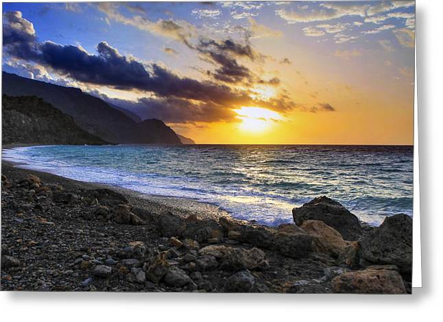 Greek Sunset Greeting Card by Paul Cowan