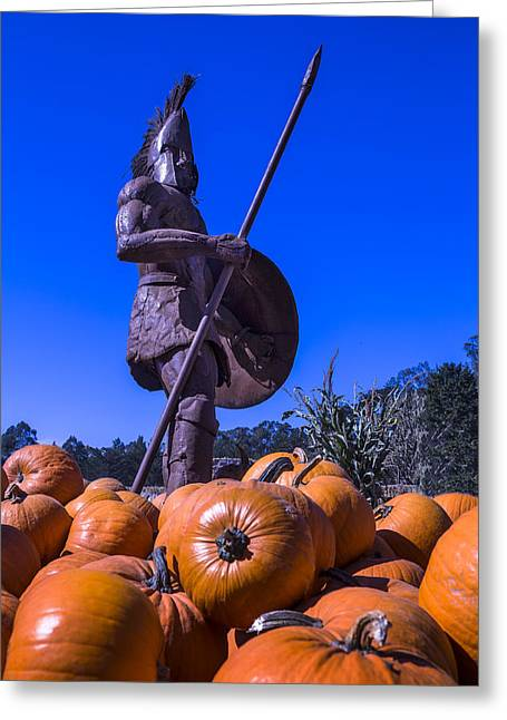 Greek Warrior Among The Pumpkins Greeting Card by Garry Gay
