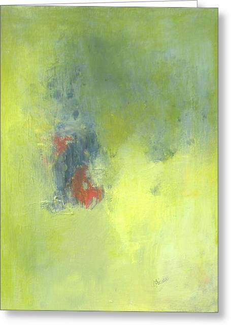 Green Abstract Greeting Card by Andrea Friedell