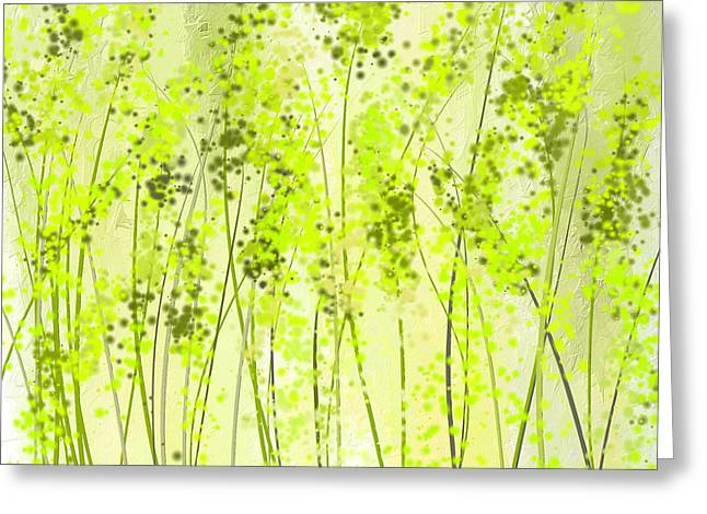Green Abstract Art Greeting Card by Lourry Legarde