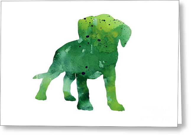 Green Abstract Boxer Puppy Watercolor Art Print Greeting Card by Joanna Szmerdt
