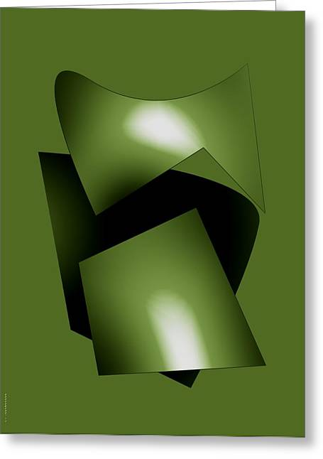 Green Abstract Geometry Greeting Card by Mario Perez