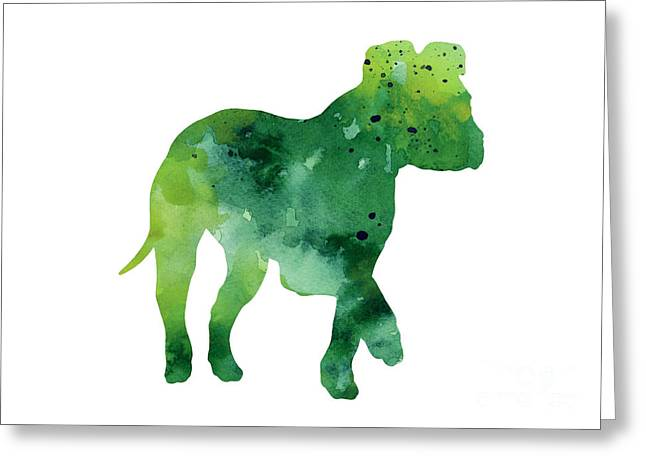 Green Amstaff Puppy Silhouette Greeting Card by Joanna Szmerdt