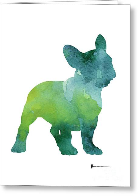 Green And Blue Abstract French Bulldog Watercolor Painting Greeting Card by Joanna Szmerdt