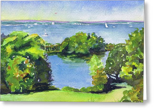 Greeting Card featuring the painting Green And Blue Caumsett by Susan Herbst