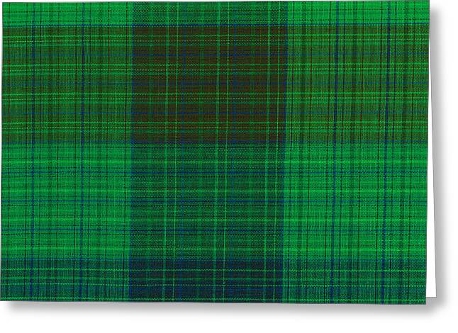 Green And Blue Plaid Fabric Background Greeting Card by Keith Webber Jr