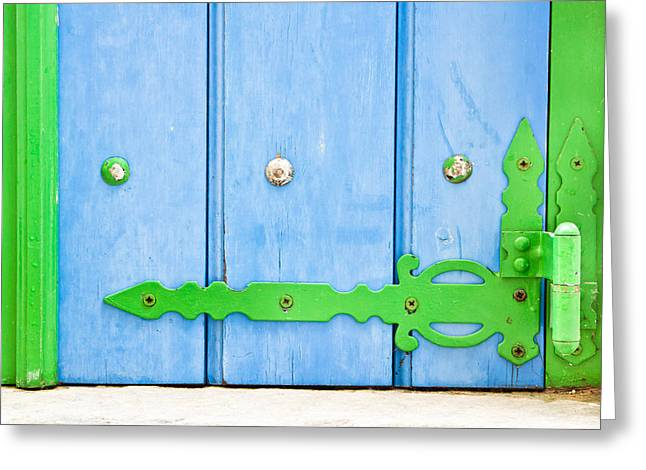 Green And Blue Shutter Greeting Card by Tom Gowanlock