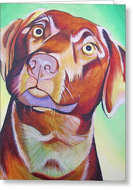 Greeting Card featuring the painting Green And Brown Dog by Joshua Morton
