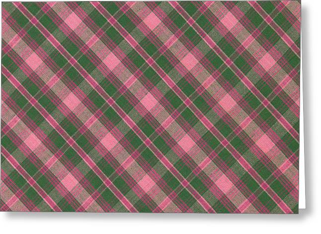 Green And Pink Diagonal Plaid Pattern Textile Background Greeting Card by Keith Webber Jr