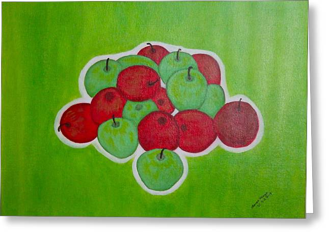 Greeting Card featuring the painting Green And Red Apples by Lorna Maza