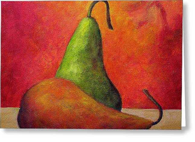 Green And Red Pear Greeting Card by Marie-louise McHugh
