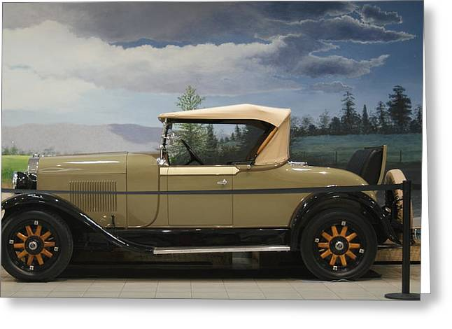 Green And Tan Roadster Greeting Card by Rob Luzier