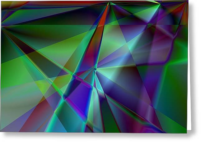 Green And Violet In A Dynamic Light Dialogue Greeting Card by Art Di