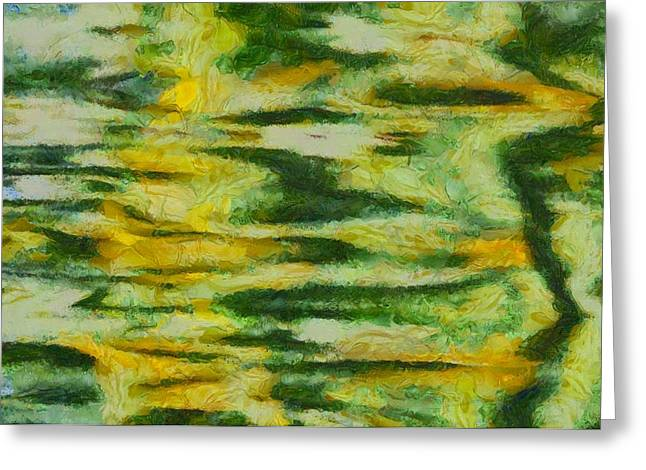 Green And Yellow Abstract Greeting Card by Dan Sproul