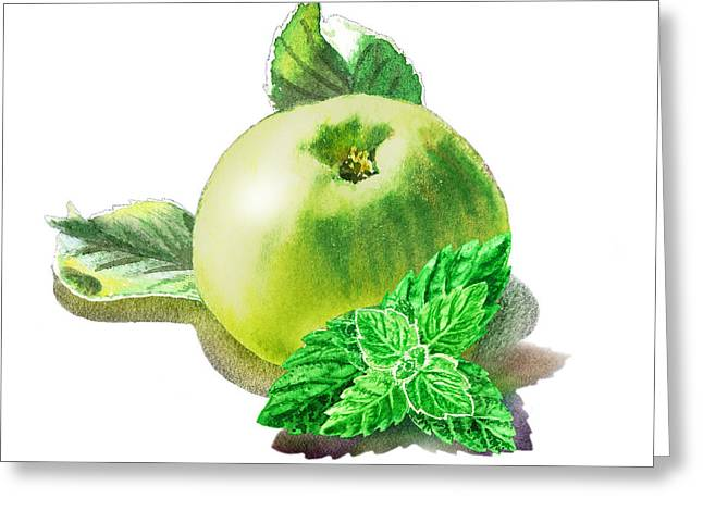 Greeting Card featuring the painting Green Apple And Mint Happy Union by Irina Sztukowski