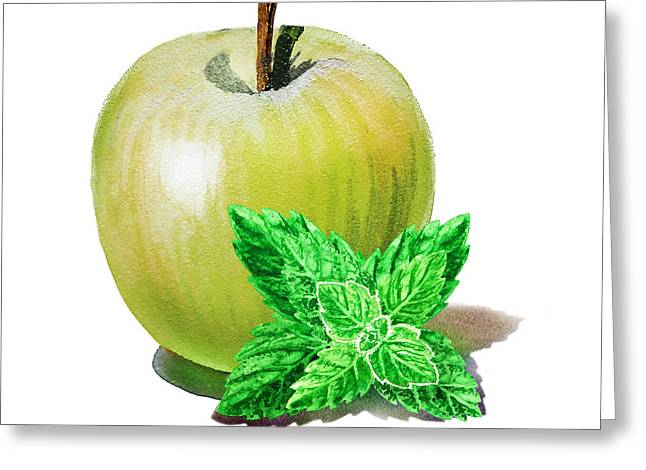 Greeting Card featuring the painting Green Apple And Mint by Irina Sztukowski