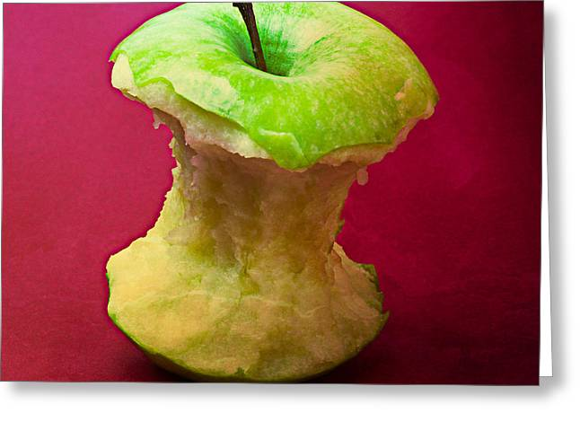 Green Apple Core 1 Greeting Card by Alexander Senin