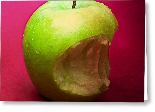 Green Apple Nibbled 3 Greeting Card by Alexander Senin