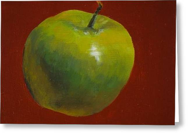 Green Apple On Red Greeting Card
