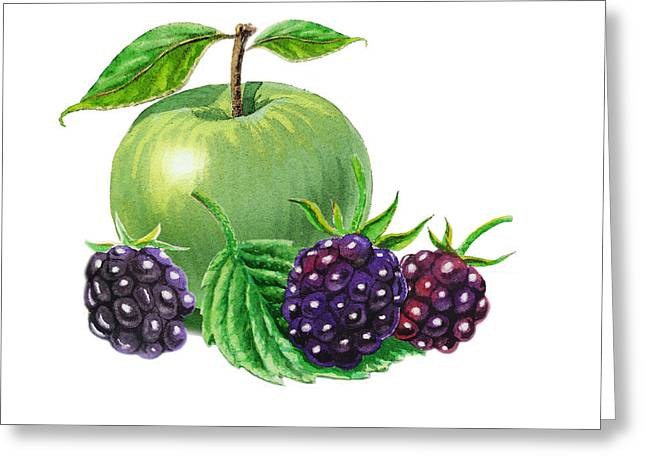 Green Apple With Blackberries Greeting Card