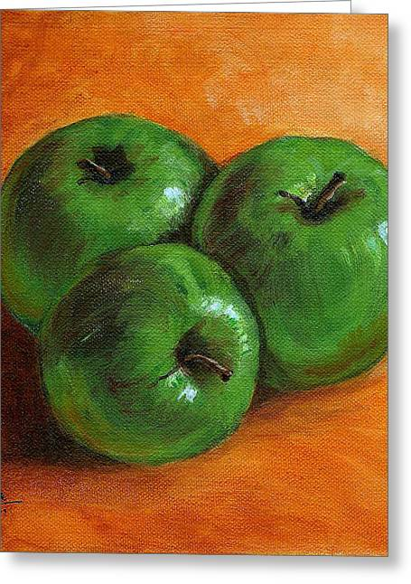 Green Apples Greeting Card by Asha Sudhaker Shenoy