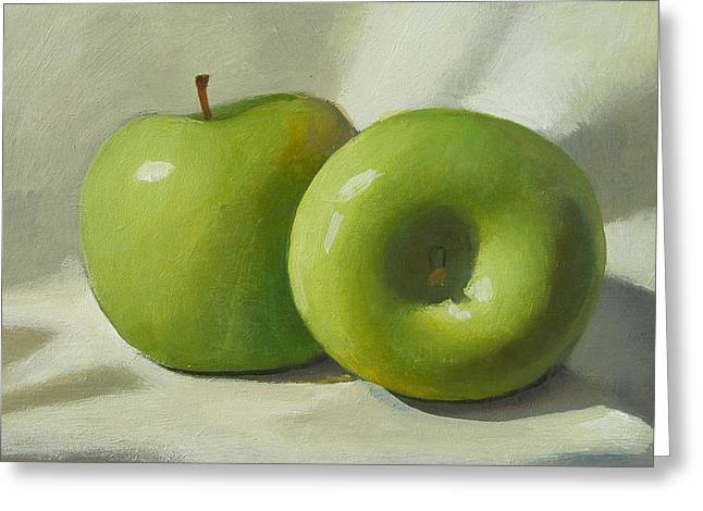 Green Apples Greeting Card by Peter Orrock