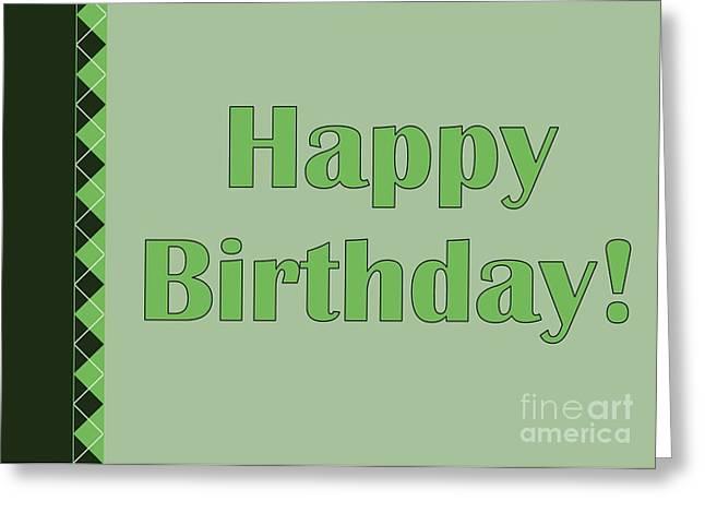 Green Argyle Birthday Greeting Card by JH Designs