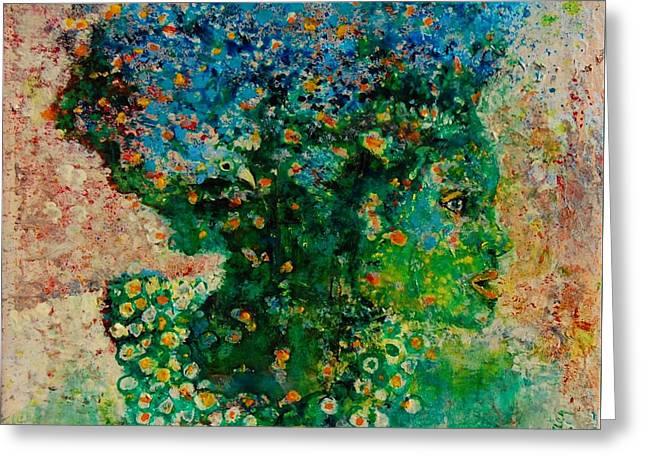 Green Artist Greeting Card by Jean Cormier